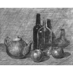Tetera, dos botellas y dos manzanas