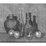 Cántaro, botellas y manzanas