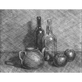 Tetera, botellas y dos manzanas