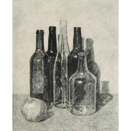 Cinco botellas y manzana