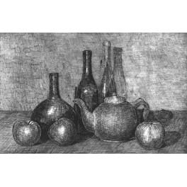 Tres botellas, manzanas y tetera