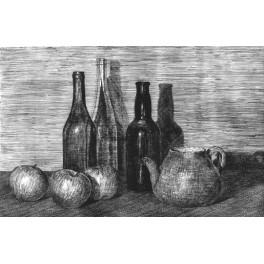 Tres manzanas, tres botellas y tetera