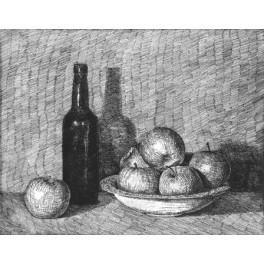 Botella y plato con manzanas