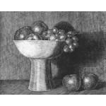 Frutero alto con uvas y manzanas