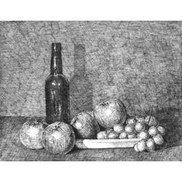 Botella, manzanas y uvas