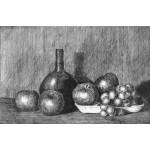 Botella redonda, manzanas y uvas